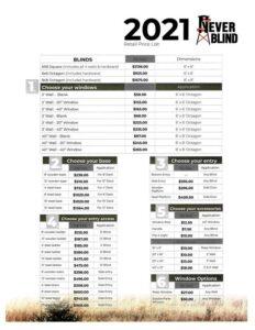 Never Blind price list p2